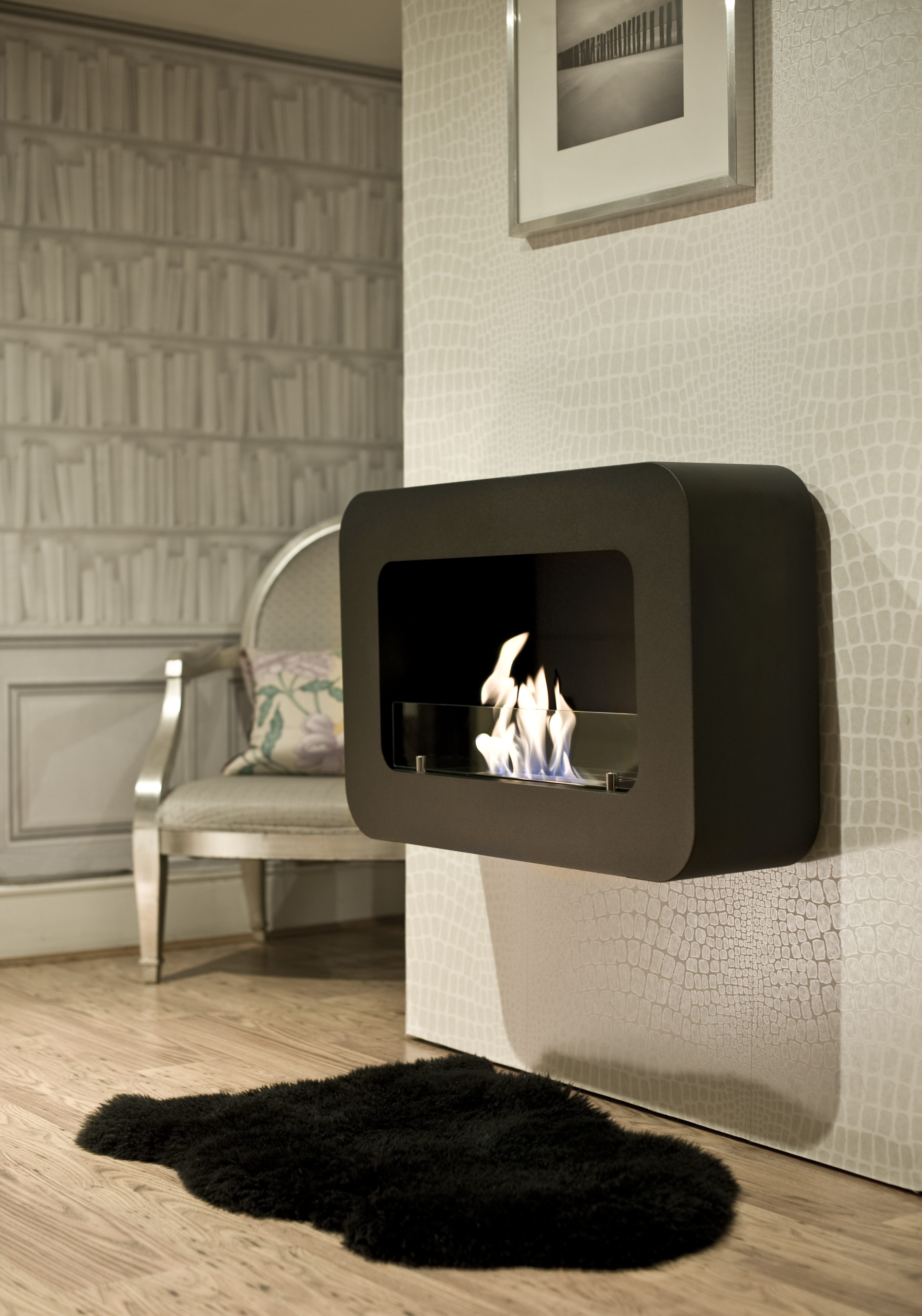 safety barrier luna glass mounted with wall ventless fireplace ethanol