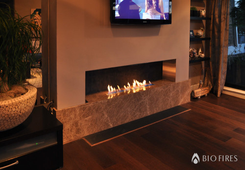 Placement of television sets with ethanol fireplaces