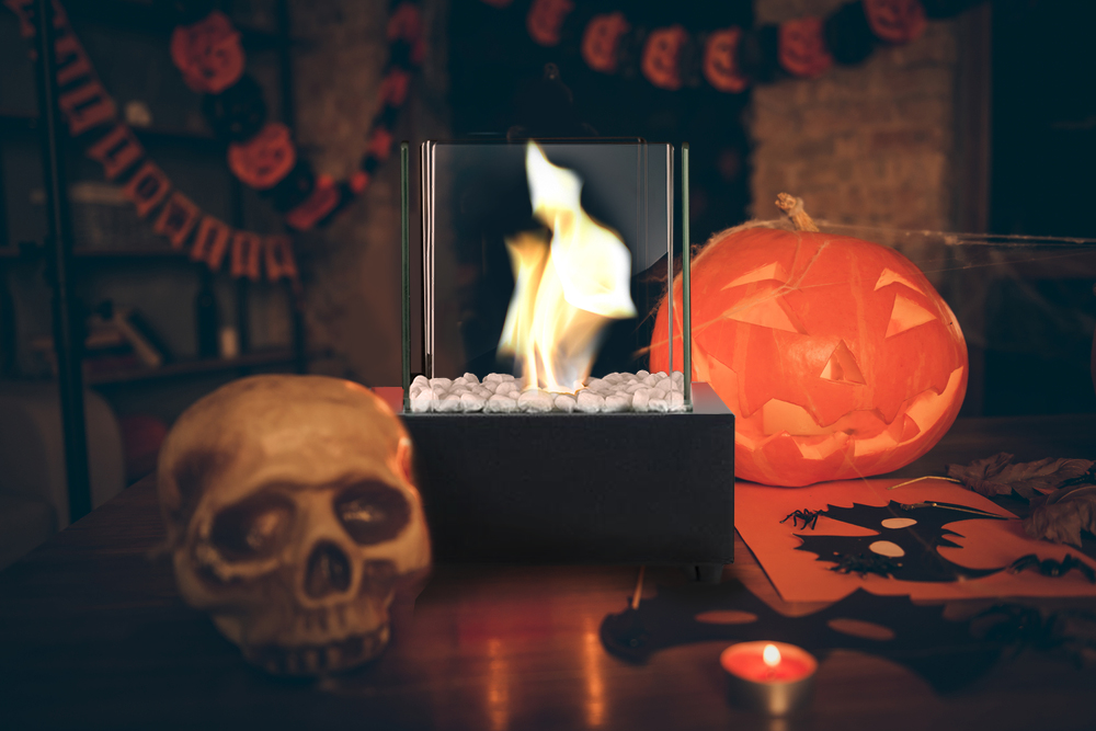Halloween bioethanol tabletop fireplace - prize in annual Halloween Photo Contest