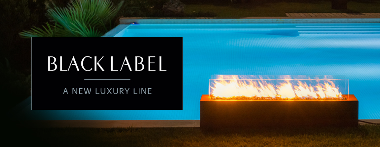 freestanding outdoor gas fireplace by Planika